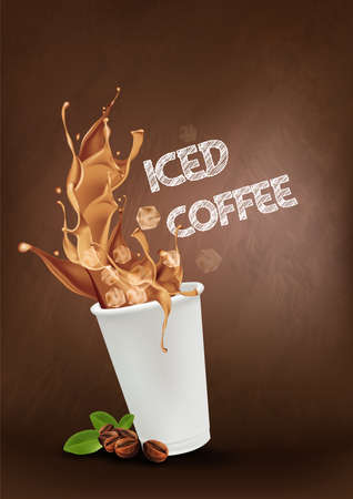 Iced coffee pouring down into a takeaway cup on dark background. vector and illustration.