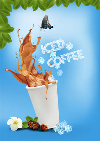 Iced coffee pouring down into a takeaway cup on bright blue background. vector and illustration.