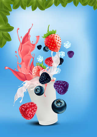 Frappe yoghurt mix-berries pouring down into a takeaway cup on bright blue background. vector and illustration. Ilustrace