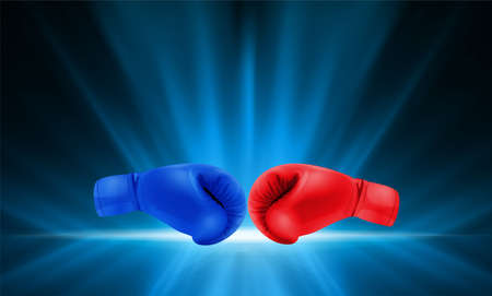 Boxing gloves Red and Blue hitting together on abstract smooth light blue perspective background. Vector illustration.