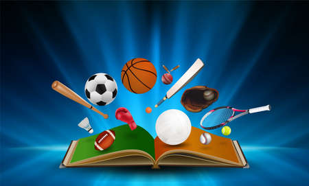 Sports equipment out of book on abstract smooth light blue perspective background. Vector illustration.