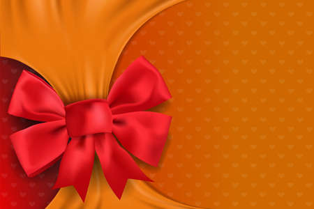 Greeting card with realistic Red bow on yellow space for text and message design background. vector and illustration.