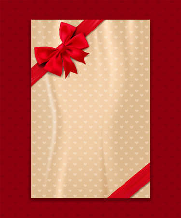 Greeting background with red bow and space for text. Vector illustration Ilustrace