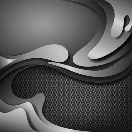 Shadow metallic silver abstract background with cut metal shapes, vector illustration.