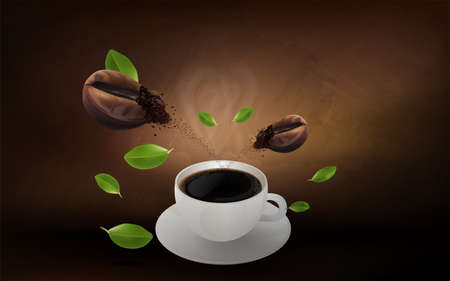 Cup of black coffee and coffee bean on brown background, flowing coffee brochure and copy space for text. vector illustration.