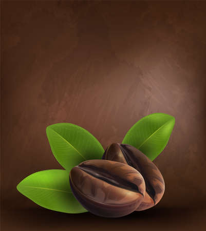 Coffee beans and leaves on dark background, vector illustrator. Vectores