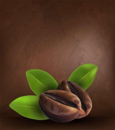 Grains de café et feuilles sur fond sombre, illustrateur de vecteur.