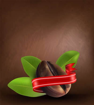 Coffee beans and leaves on dark background, vector illustrator. Ilustrace
