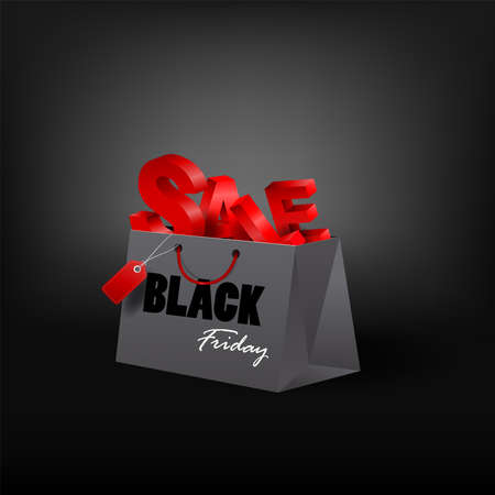 Black Friday shopping bag and sales tag marketing template. vector illustration. Ilustrace