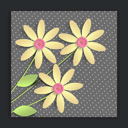 Flowers paper cut decorate, earth day greeting card, isolated botanical clip art elements, vector illustration.