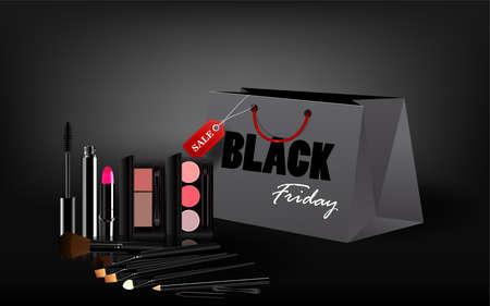 Black Friday shopping bag cosmetics and sales tag marketing template. vector illustration.