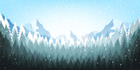 Christmas poster on blue background with snow and tree. Happy New Year message. Vector illustration.