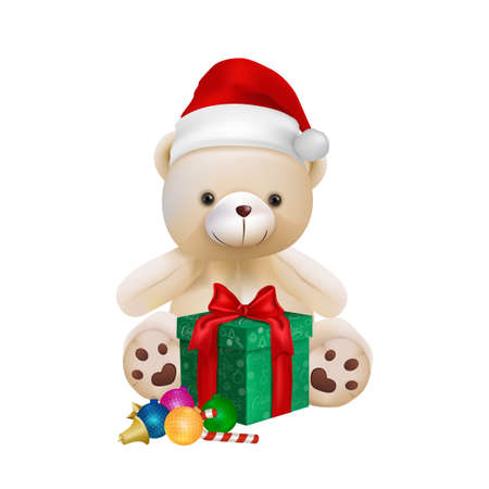 Cute teddy bear isolated on white background for merry christmas card vector and illustration. Ilustrace