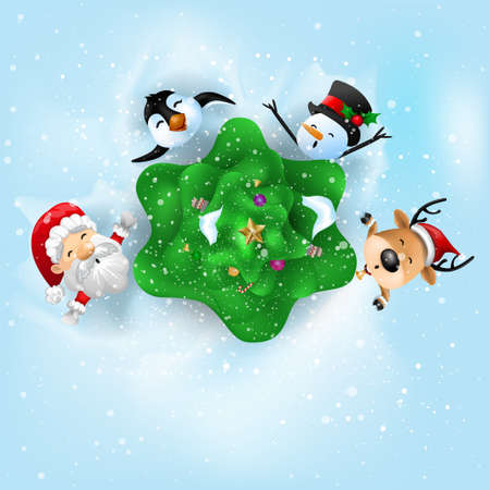 Funny Christmas Greeting Card, With Santa Claus, Deer, Snowman and penguin, vector illustration. Ilustrace