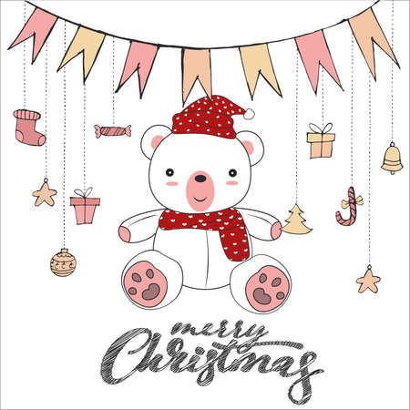 Cute teddy bear doodle isolated on white background for merry christmas card vector and illustration.