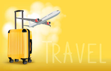 Yellow suitcase and travel plan for the trip and copy space for text, vector illustration Иллюстрация