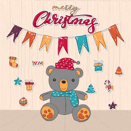 Cute teddy bear doodle background for merry christmas card vector and illustration.