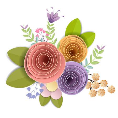 Conception de vecteur et d'illustration. fleurs en papier artisanal, printemps, automne, mariage et bouquet floral festif de la Saint-Valentin, couleurs d'automne lumineuses, clipart nature isolé sur fond blanc, embellissement décoratif.
