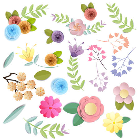 Vector and illustration design. craft paper flowers, spring, autumn, wedding and valentine festive floral bouquet, bright fall colors, nature clipart isolated on white background, decorative embellishment.