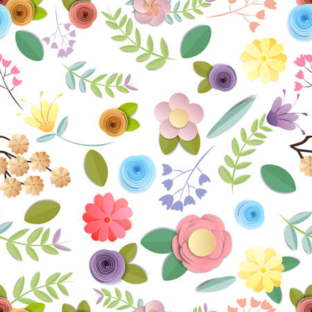 craft paper flowers pattern seamless background, spring, autumn, wedding and valentine festive floral bouquet,  on white background, decorative embellishment.