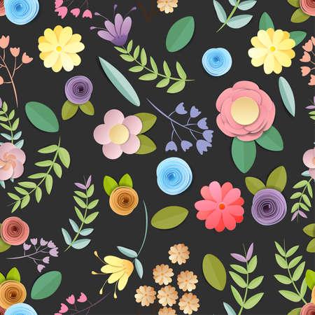 craft paper flowers pattern seamless background, spring, autumn, wedding and valentine festive floral bouquet,  on black background, decorative embellishment.