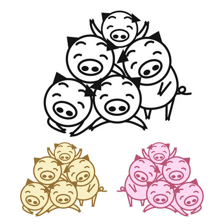 Happy family pigs. Year of the pig. vector illustration.
