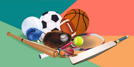 Sports equipment with a football basketball baseball soccer tennis ball volleyball boxing gloves and badminton as a symbol of sports online on colorful background. illustration.