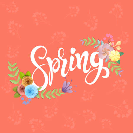 Craft paper flowers spring background, festive floral bouquet,  on living coral color background, decorative embellishment.