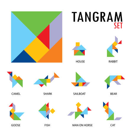 Colorful set of tangram game icons made with geometry shapes in abstract style, includes animal, vector illustration.