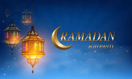 Ramadan Kareem or Eid mubarak greeting card with ramadan lamp, moon and stars lantern on Muslim feast of holy islam religious month. vector illustration.