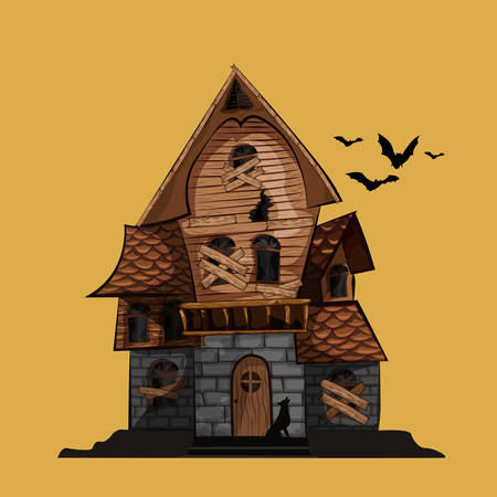 Halloween background with haunted house, bats and graveyard isolated on yellow background vector illustration.