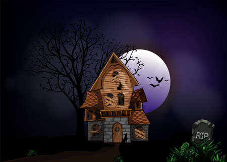 Halloween background with haunted house, bats and graveyard vector illustration. Copy space for text.