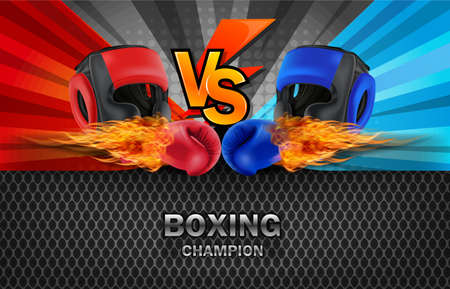 Boxing Blue and Red fighting board background, vector illustration.