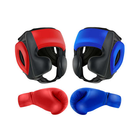 Boxing Blue and red gloves isolated on white background, vector illustration.