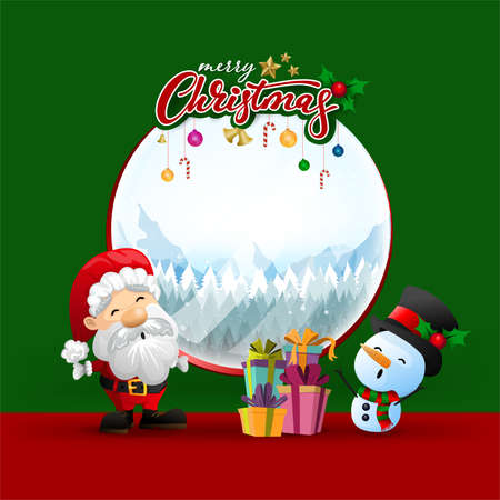 Funny Christmas Greeting Card, With Santa Claus, Deer, Snowman and penguin, vector illustration. Ilustracja