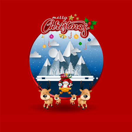 Funny Christmas Greeting Card, With Santa Claus, Deer, Snowman and penguin, vector illustration. Иллюстрация