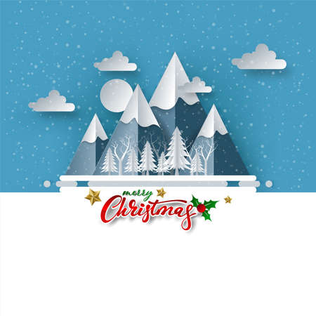 Merry Christmas on Snow and mountain. paper art and digital craft style, vector illustration. Иллюстрация