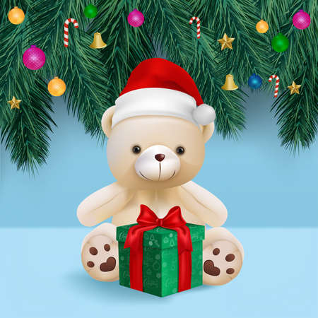 Cute teddy bear and gift box on blue background for merry christmas card vector and illustration.