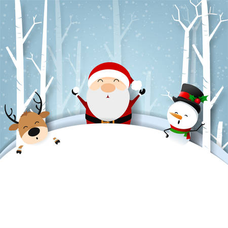 Funny Christmas Greeting Card, With Santa Claus and Snowman happiness with snowflake, vector illustration.