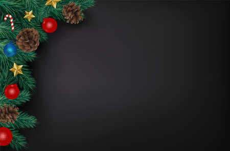 Background with Realistic Looking Christmas Tree Branches on black background. Brochure design template, Card, Banner, vector illustration. Zdjęcie Seryjne - 134467821