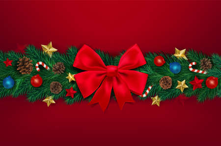 Background with Realistic Looking Christmas Tree Branches on red background. Brochure design template, Card, Banner, vector illustration. Zdjęcie Seryjne - 134467822