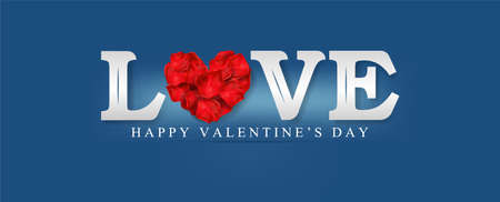 Happy Valentines Day. Love on blue background. for Valentines Day greeting card. Typography design for print cards, banner, poster. Vector and illustration. Zdjęcie Seryjne - 135093612