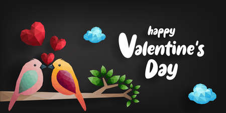 Happy Valentines day. Birds and hearts on branch from polygonal shapes, vector illustration. Иллюстрация