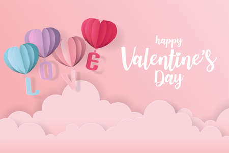 Love and valentine day card with heart balloon, gift and clouds. Paper cut style, Vector illustration. Zdjęcie Seryjne - 137041355