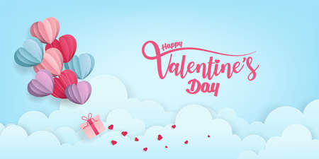 Valentine's Hearts Abstract on Blue Background. Valentines Day Wallpaper. Heart Holiday Backdrop, Vector illustration. Zdjęcie Seryjne - 137324432