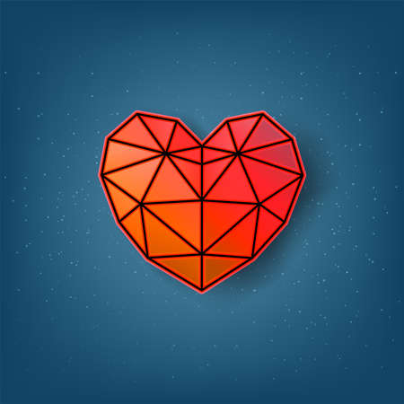 Valentine's Day of Holiday. polygon hearts on blue background, vector and illustration.