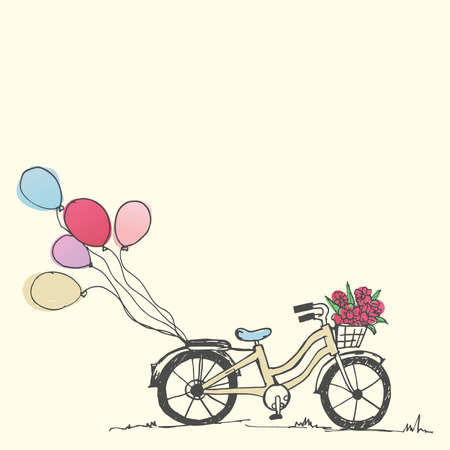 Valentines holiday card. Hand drawn cute bicycle and balloon, vector and illustration.