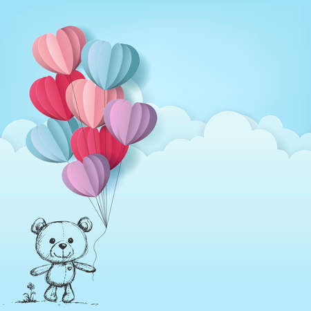 cute baby bear with heart balloon drawing style on cloud background, vector and illustration. Иллюстрация