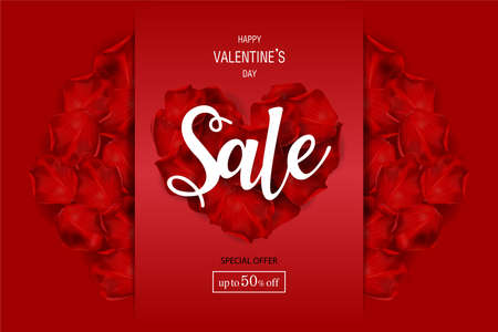 Holiday of Valentine's Day. Discount for Sale fifty percent of poster. Round of frame made of rose flowers on red background. Valentines day background. Zdjęcie Seryjne - 138013575