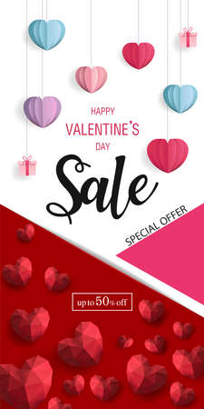 Holiday of Valentine's Day. Discount for Sale fifty percent of poster. Round of frame made of Hearts on red and white background. Valentines day background. Zdjęcie Seryjne - 138020974